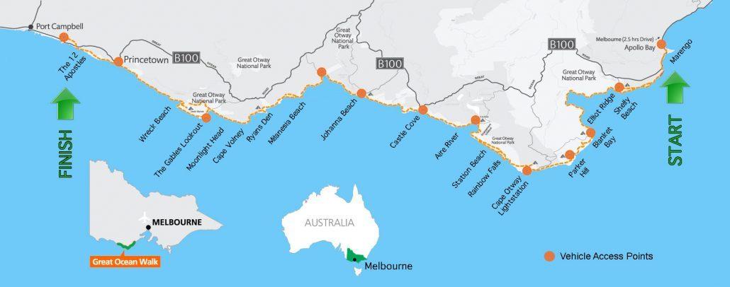 Australia Map Oceans.The Great Ocean Walk Australia S Premier Coastal Walking Trail